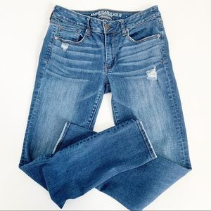 AMERICAN EAGLE Distressed Mid Rise Skinny Jeans